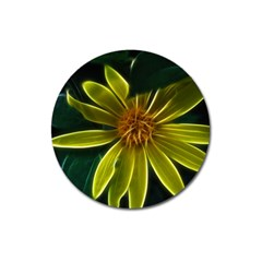 Yellow Wildflower Abstract Magnet 3  (Round)