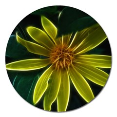 Yellow Wildflower Abstract Magnet 5  (Round)