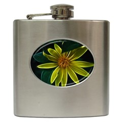 Yellow Wildflower Abstract Hip Flask