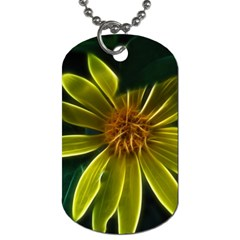 Yellow Wildflower Abstract Dog Tag (two Sided)