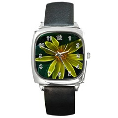 Yellow Wildflower Abstract Square Leather Watch