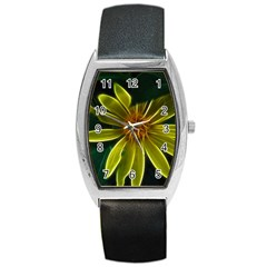 Yellow Wildflower Abstract Tonneau Leather Watch