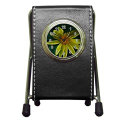 Yellow Wildflower Abstract Stationery Holder Clock
