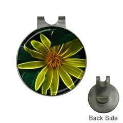 Yellow Wildflower Abstract Hat Clip with Golf Ball Marker
