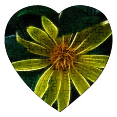 Yellow Wildflower Abstract Jigsaw Puzzle (heart)