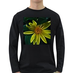 Yellow Wildflower Abstract Men s Long Sleeve T Shirt (dark Colored)