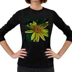 Yellow Wildflower Abstract Women s Long Sleeve T-shirt (Dark Colored)