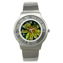Yellow Wildflower Abstract Stainless Steel Watch (Slim)