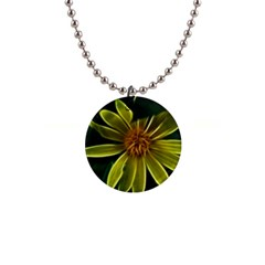 Yellow Wildflower Abstract Button Necklace