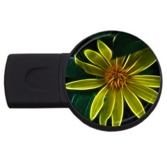 Yellow Wildflower Abstract 4GB USB Flash Drive (Round)