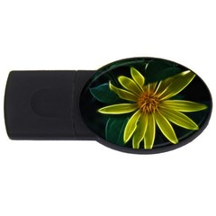 Yellow Wildflower Abstract 4GB USB Flash Drive (Oval)