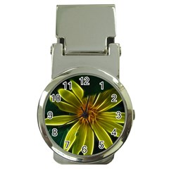 Yellow Wildflower Abstract Money Clip With Watch