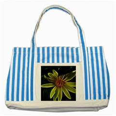 Yellow Wildflower Abstract Blue Striped Tote Bag