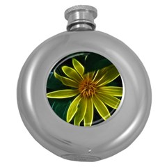 Yellow Wildflower Abstract Hip Flask (Round)