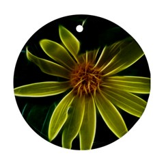 Yellow Wildflower Abstract Round Ornament (Two Sides)