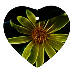 Yellow Wildflower Abstract Heart Ornament (Two Sides)
