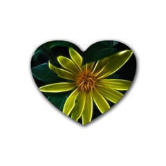 Yellow Wildflower Abstract Drink Coasters (Heart)