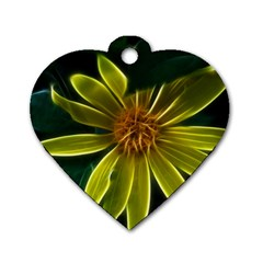 Yellow Wildflower Abstract Dog Tag Heart (Two Sided)