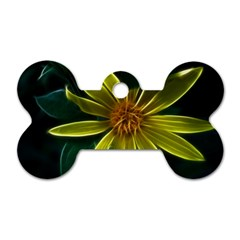 Yellow Wildflower Abstract Dog Tag Bone (Two Sided)