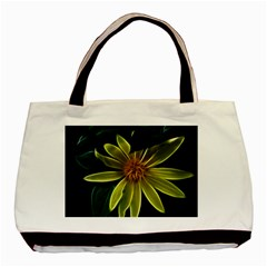 Yellow Wildflower Abstract Twin-sided Black Tote Bag