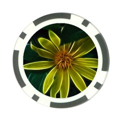 Yellow Wildflower Abstract Poker Chip