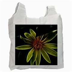 Yellow Wildflower Abstract White Reusable Bag (One Side)