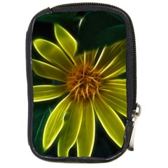 Yellow Wildflower Abstract Compact Camera Leather Case