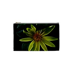 Yellow Wildflower Abstract Cosmetic Bag (small)