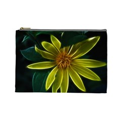 Yellow Wildflower Abstract Cosmetic Bag (large)