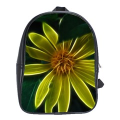 Yellow Wildflower Abstract School Bag (Large)