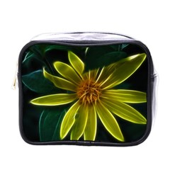Yellow Wildflower Abstract Mini Travel Toiletry Bag (One Side)