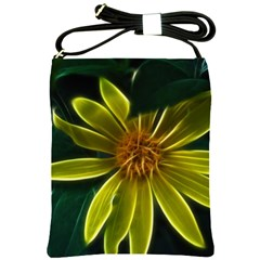 Yellow Wildflower Abstract Shoulder Sling Bag