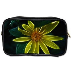Yellow Wildflower Abstract Travel Toiletry Bag (Two Sides)