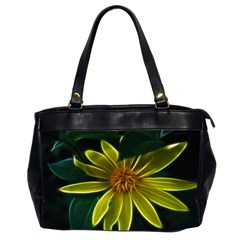 Yellow Wildflower Abstract Oversize Office Handbag (Two Sides)