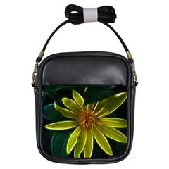 Yellow Wildflower Abstract Girl s Sling Bag