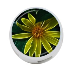 Yellow Wildflower Abstract 4-Port USB Hub (One Side)