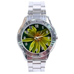Yellow Wildflower Abstract Stainless Steel Watch