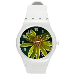 Yellow Wildflower Abstract Plastic Sport Watch (Medium)