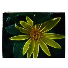Yellow Wildflower Abstract Cosmetic Bag (XXL)