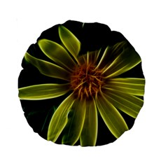 Yellow Wildflower Abstract 15  Premium Round Cushion