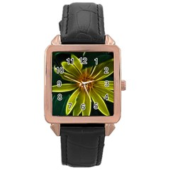 Yellow Wildflower Abstract Rose Gold Leather Watch