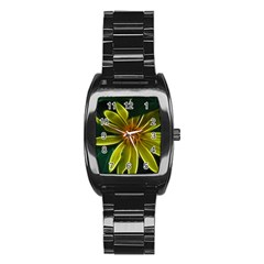 Yellow Wildflower Abstract Stainless Steel Barrel Watch