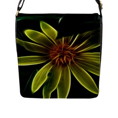 Yellow Wildflower Abstract Flap Closure Messenger Bag (Large)