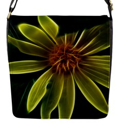 Yellow Wildflower Abstract Flap Closure Messenger Bag (small)