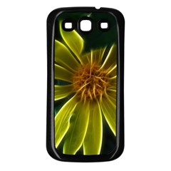 Yellow Wildflower Abstract Samsung Galaxy S3 Back Case (Black)