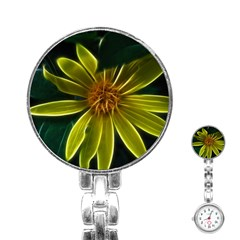 Yellow Wildflower Abstract Stainless Steel Nurses Watch