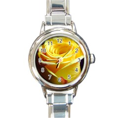 Yellow Rose Curling Round Italian Charm Watch