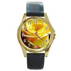 Yellow Rose Curling Round Leather Watch (Gold Rim)