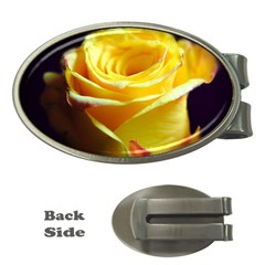 Yellow Rose Curling Money Clip (Oval)