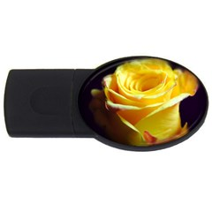 Yellow Rose Curling 2gb Usb Flash Drive (oval)